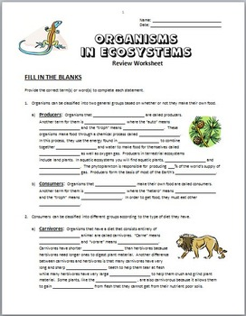 organisms in ecosystems review worksheet editable by tangstar science. Black Bedroom Furniture Sets. Home Design Ideas