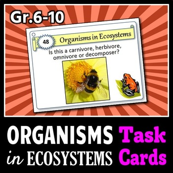 Organisms in Ecosystems - Task Cards {With Editable Template}