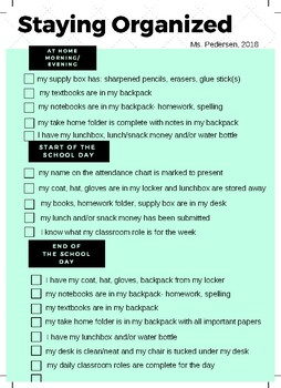 Organization Checklist for Elementary Students