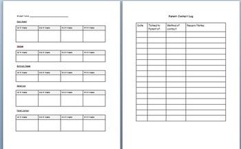 Organization Forms for Teacher Binder