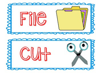 Classroom Organization Labels in Blue and Red