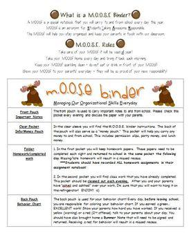 Organization Student Binder- M.O.O.S.E. Binder