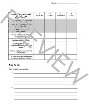 Organization Study Skill Inventory and Goal sheet