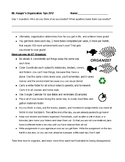 Organization Tips for Middle School Students 1 page Handout