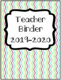 2019 UPDATE Organization: Chevron Teacher Binder with Sub