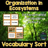 Organization in Ecosystems Vocabulary Sort