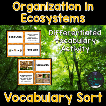 Organization in Ecosystems Vocabulary Sort