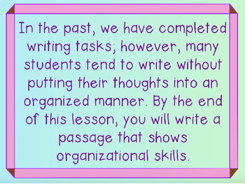 Writing Process : Organization in Writing in Power Point