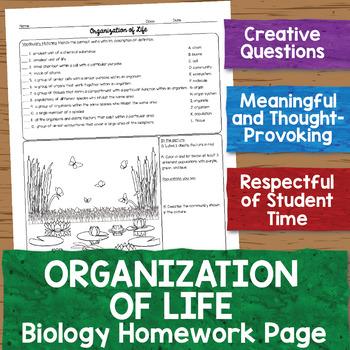 Organization of Life Biology Homework Worksheet