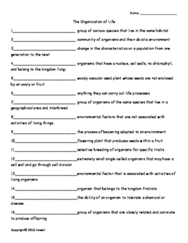 Organization of Life Vocabulary Quiz or Worksheet for Envi