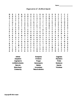 Organization of Life Vocabulary Word Search for Environmental Science