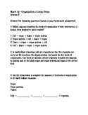 Organization of Living Things Worksheet