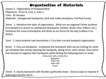 Organization of School Materials:  3rd-5th Grade Lesson