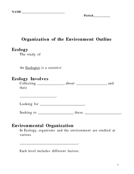 Organization of the Environment - Ecology Notes Outline Lesson Plan