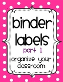 Organizational Binder Covers and Spines- PART 1