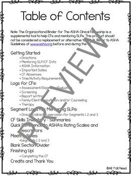 Editable Organizational Binder for the ASHA Clinical Fellowship (Color Version)