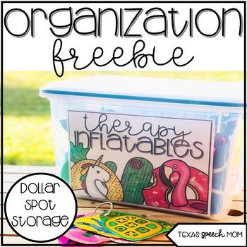 Organizational Freebie: Dollar Spot Therapy Materials