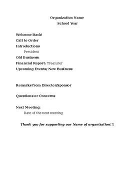 Organizational Newsletter/Agenda for meeting template
