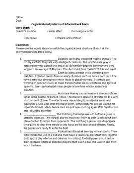Organizational Pattern of Informational Texts Assessment