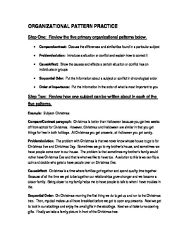 Organizational Patterns Examples and Writing Activity