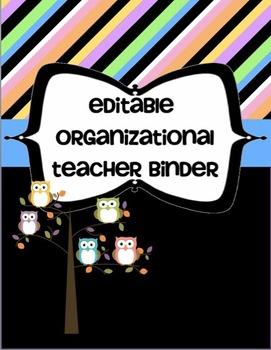 Editable Organizational Teacher Binder - 150 Pages Owl Themed