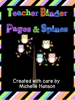 Organizational Teacher Binder Cover and Spines - Owl Themed PDF
