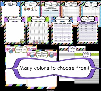 Complete Organizational Teacher Binder PDF - 150 Pages Owl Themed