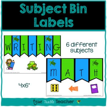 Classroom Organizational Tool - Bin Labels for Different Subjects