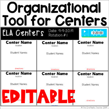 Organizational Tool for Centers - Editable Slides to Display