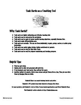 Organizational Writing Patterns Task Cards