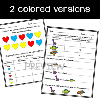 Organize, Represent, and Interpret Data- Worksheets or Assessments