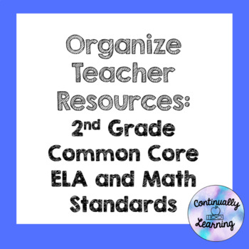 Organize Teacher Resources: 2nd Grade ELA and Math