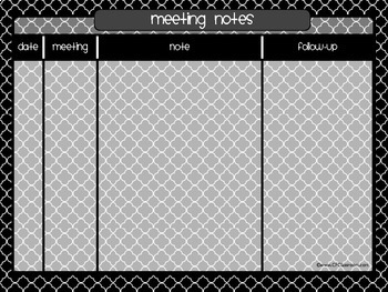 Organize YOUR MEETING NOTES - {Blackline Design Collection}