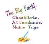 Organized Art Teacher-Checklists, Attendance and Name Tag Pack