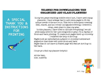 Art Teacher Planner or Binder - Organize your upcoming year in Art!
