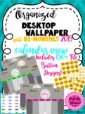 Organized Desktop Calendar Wallpapers with File Folder Buttons