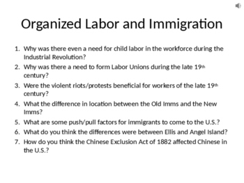 Organized Labor and Immigration during the Industrial Revolution