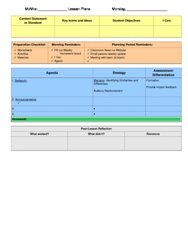 Organized Lesson Plan Template