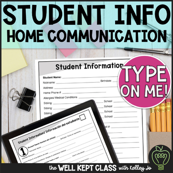 Organized Student Information/ Parent Communication Log (English and Spanish)