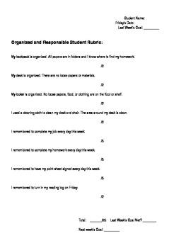 Organized Student Rubric, Organization Skills