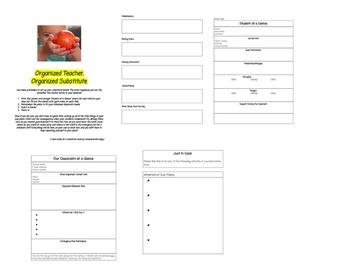 Organized teacher, organized substitute. A printable guide for your sub!
