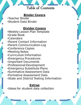 Organized Teacher Binder