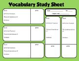 Organized Vocabulary Study Sheet