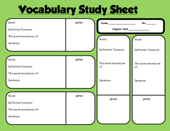 Organized Vocabulary Study Sheet