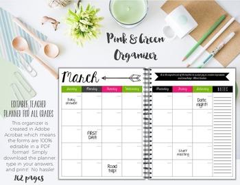 Organizer AND Substitute Binder Bundle for Upper Grades: Green & Pink