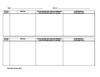 Organizer for Notetaking (with novels or dramas)