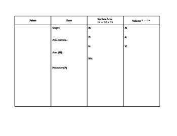Organizer for Surface Area and Volume of Solids