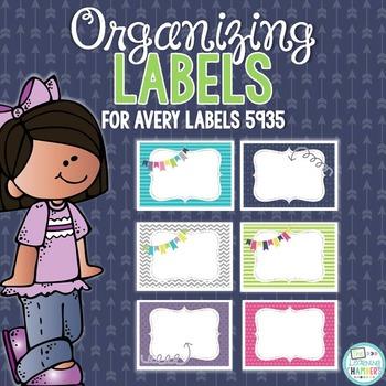 Organizing Labels: Editable Avery Labels 5935, Organizatio