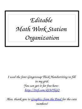 EDITABLE! Math Station Organizer Freebie