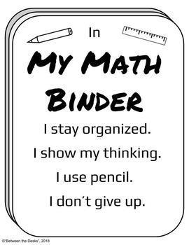 Organizing My Math Binder